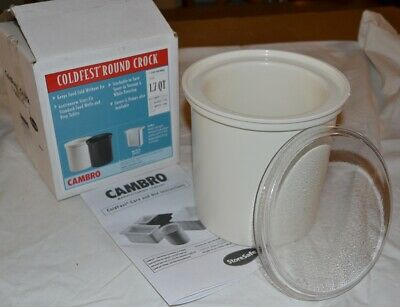 Cambro ColdFest Crock Food Pan, White 1.7 qt, CRF18148, W/Matching Lids