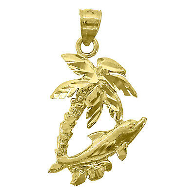 14kt Yellow Gold Unisex Dolphin Tree Animal Ht:26.5mm Pendant Charm - SNTSLV-768
