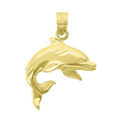 14kt Yellow Gold Unisex Dolphin Animal Ht:25.1mm Pendant Charm - SNTSLV-76833