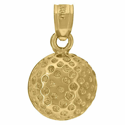 10kt Yellow Gold Mens Polished Finish Golf Ball Sports Charm Pendant - SNTSLV-50