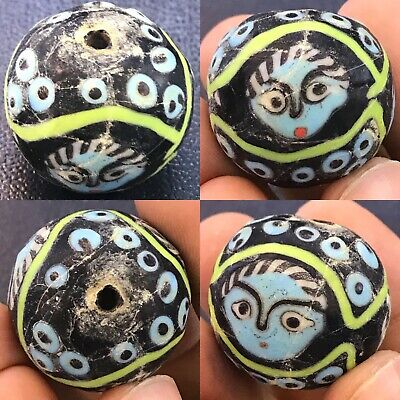 Rare Wonderful Mosaic Glass Bead With 3 Faces in one bead