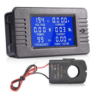 80-260V 100A LCD Display AC Volt Meter Ammeter Energy Power Monitor Panel
