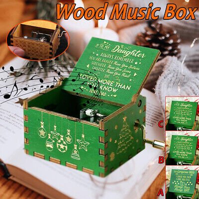 Retro Vintage Hand Cranked Wood Music Box Home Crafts Xmas Xmas Kids Gift Decor