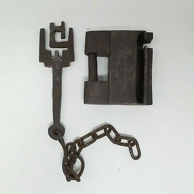 antique sled lock in wrought iron hand forged with signed key italy end of XVIII