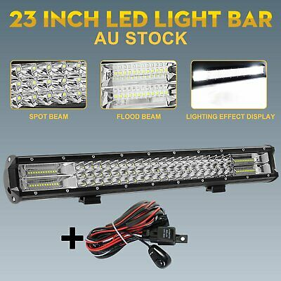 23 inch CREE LED Light Bar TRI ROW Off Road SPOT FLOOD Work Driving Lamp +Wiring