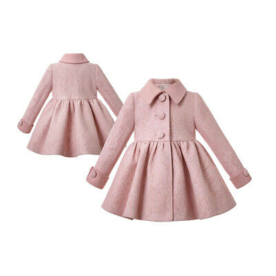 Toddler Winter Girl Dress Parka Wind Trench Outerwear Jacket Coat For Child Pink