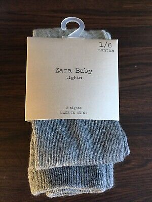 Zara 2 Pairs Cotton  Plain Girls Tights 1-6m Grey