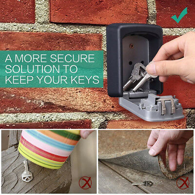 4Digit Outdoor High Security Wall Mounted Key Safe Box Code Secure LockStorageFK