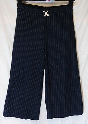 Girls Zara Blue Pinstripe Smart Formal Cropped 3/4 Trousers Age 13-14 Years