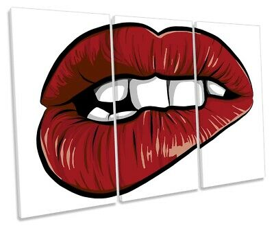 Fashion Biting Lips Erotic TREBLE CANVAS WALL ART Picture Print VA