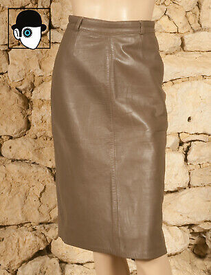 VINTAGE 80s LEATHER PENCIL SKIRT - UK 8 - (Q)