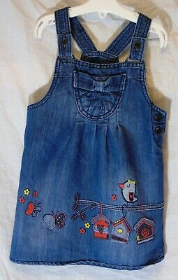 Girls George Blue Denim Embroidered Bird Dungaree Pinafore Dress Age 3-4 Years