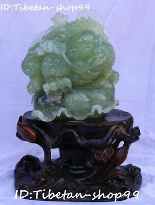 "12""Top Quality Pure Natural Green Jade Wealth Toad Cicada Lotus Flower Statue"