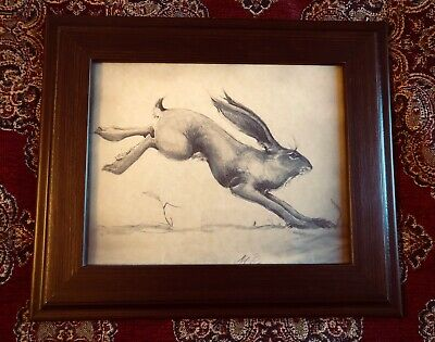 Running Hare Drawing English Folk Art Vintage Print Parchment Signed By Artist