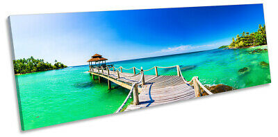 Tropical Beach Jetty Print PANORAMA CANVAS WALL ART Picture Blue