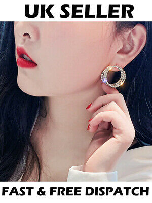 Small Circle Luxury Rhinestone Crystal Stud Earrings Elegant Party Three Rings