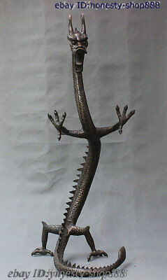 """48"""" China Bronze Copper Carved JiXiang Dragon 12 Zodiac Year Animal Loong Statue"""