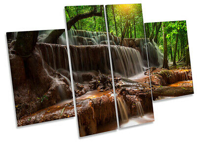 Waterfall Forest River Print CANVAS WALL ART Four Panel Green