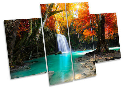 Waterfall Landscape Tropical Print CANVAS WALL ART Four Panel Orange