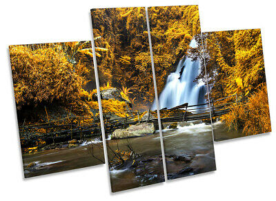 Waterfall Landscape Forest Print CANVAS WALL ART Four Panel Orange