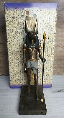 "Veronese Signed Egyptian God Anubis Sculpted Cold Cast Statue 15"" Staff Ankh"