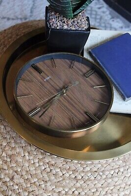 60s Metamec Wall Clock Teak Effect Round Circle Metallic Brass Retro Mid-Century