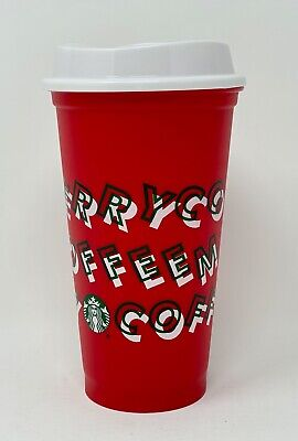 Starbucks 2019 Winter Holiday Christmas Reusable RED Hot Cup & Lid: New FREESHIP