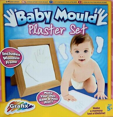 Grafix Make Your Own Baby Mould Plaster Set Hand & Foot Prints In Frame Age 5+