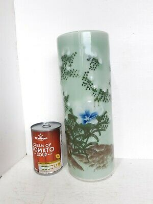 Large Antique Japanese Chinese Seto Imari Celadon Vase Brush Pot Umbrella Stand