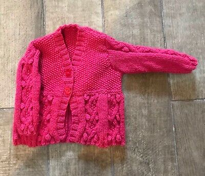 New Hand Knitted Girls Bright Pink Bobble Cardigan Size 2-3 Years