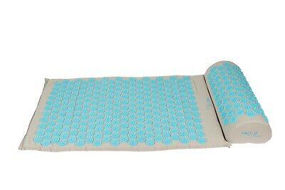 Grey Acupressure mat and pillow set with draw string carry bag