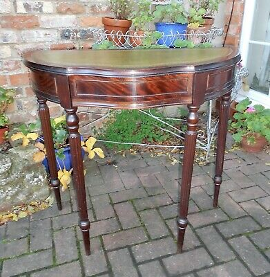Serpentine Demi-Lune Mahogany Console Table~Hall~Side Table~Drawer~Green Leather