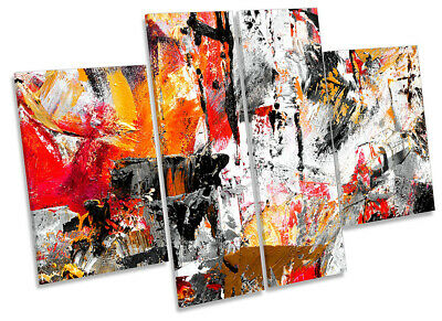 Grunge Modern Abstract Print CANVAS WALL ART Four Panel Red