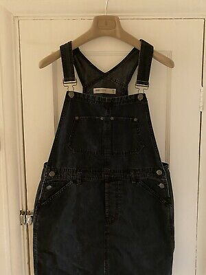 ASOS Black Washed Denim Pinafore Dungaree Dress Size 12