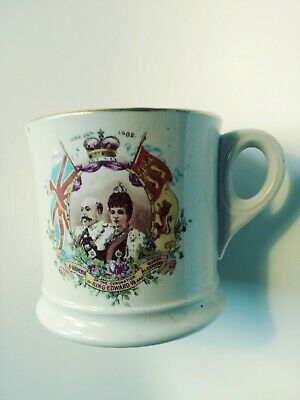 King Edward VII Queen Alexandra Coronation Mug 1902 Antique British Royal