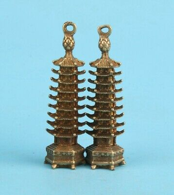 2 Unique China Bronze Hand-Cast Tower Statue Pendant Lucky Gift Colle Old