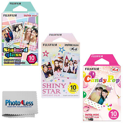 Fujifilm Instax Mini Film Stained Glass | Shiny Stars | Candy Pop | 10 Per Pack