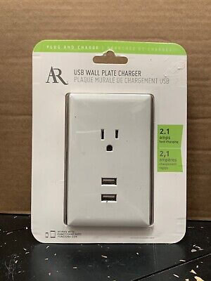 AR USB Wall Plate Charger 2.1 Amps Fast Charging, Plugs into Existing Outlet