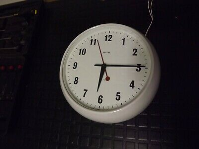 "Vintage White  Bakelite Smith's Sectric Electric School Wall Clock 11"" Dia"