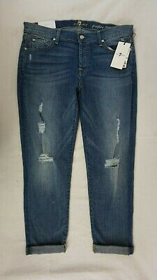 NWT 7 For All Mankind Women's Josefina Distressed Skinny Boyfriend Jeans 31 x 26