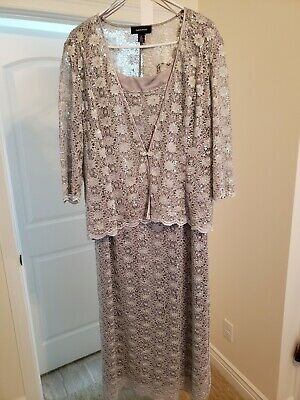 R&M Richards Silver 2 Piece Dress, Size 18, Modesty Modifications to Neck and...