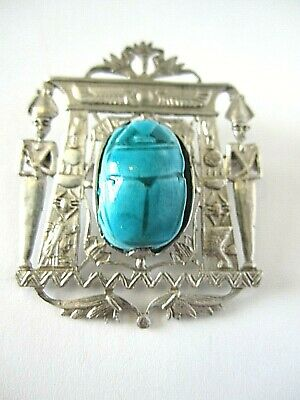 Antique Sterling Silver And Glazed Composition Scarab Brooch & Necklace Pendant