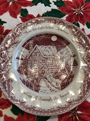 """Johnson Brothers Twas the Night Before Christmas Holiday 10.5"""" Dinner Plate"""