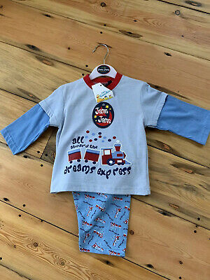 Jam Jam Nightwear Boys Blue Train Pyjamas Size 12-18 Months BNWTs