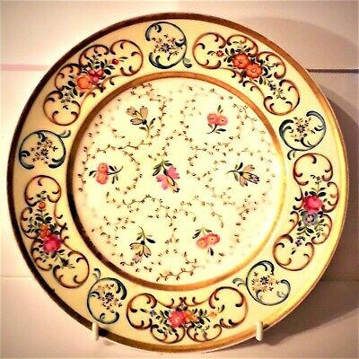 RUSSIAN IMPERIAL ANTIQUE POPOV PORCELAIN, PLATE ROSES, 19 century Lux Condition