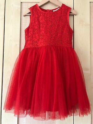 Yumi Girls Red Party Dress - Age 3-4 Years - Christmas Sequins Tulle Lace