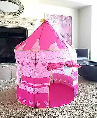 Pink Princess Castle Tent - Portable Play Tent For Girls - Indoor & Outdoor Use