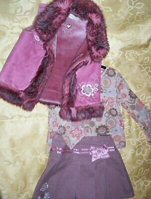 Nice Next Girls Christmas Outfit Top, Skirt And Body Warmer Size 6 Years