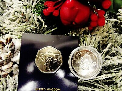 2019 The Snowman BU 50P & Gibraltar Father Christmas UNC 50P BARGAIN BUY