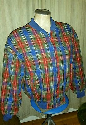 Vinatge Adolfo Royalty Collection Wool Zip Up Jacket Ladies M Plaid Hipster Coat